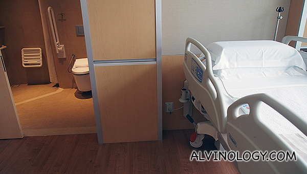 The bathroom is deliberately located near to the bed so the patient do not have to walk far