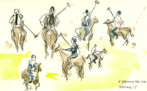 Sketching at Greenwich Polo Club, Greenwich, CT