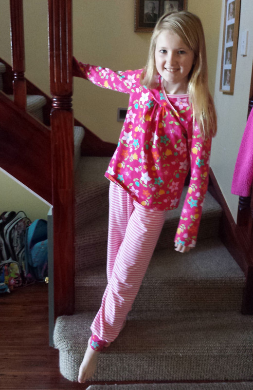 pyjamas for Clare - Oliver + S Hopscotch top and Ottobre pants