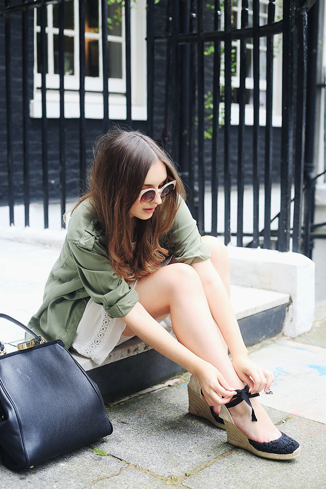 Topshop Military Shirt New Look Lace Dress Alexa Chung Inspired Look