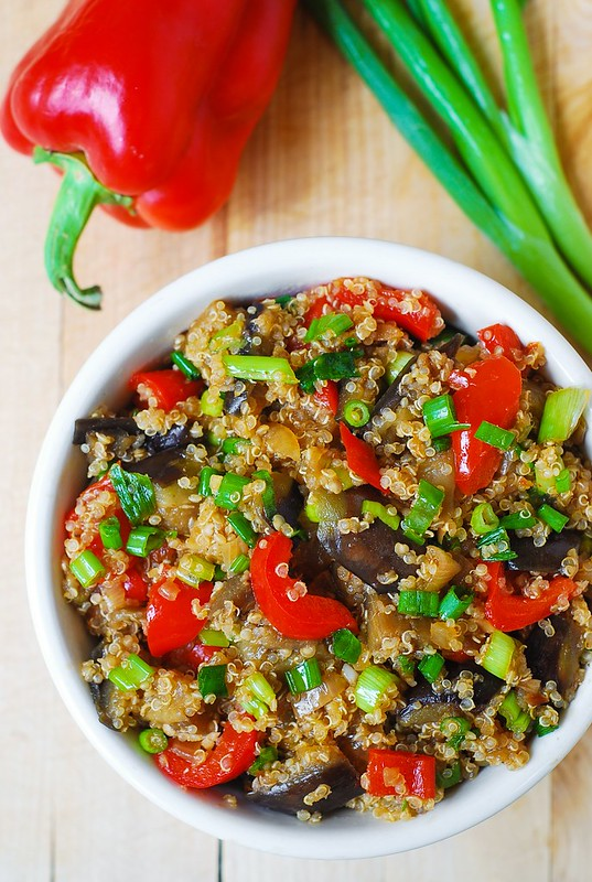 Spicy Asian eggplant, spicy Asian quinoa, gluten free recipes, gluten free meals, gluten free dinner, red bell pepper, Asian food, Asian recipes, Asian dinners, vegetarian recipes