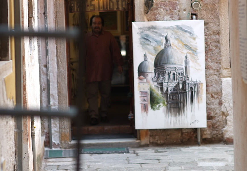 Artist in the doorway