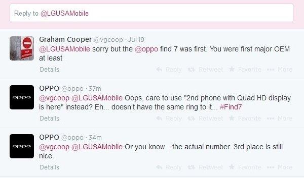 LG и Oppo в Twitter
