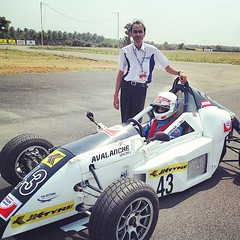 With My Avalanche Racing Team Manager Vineet Rathi at Grid Position Pic Date: 29/05/2014  #avalanche #racing #team #bangladeshi #drive #indian #team #formula4 #jktyre #grid #car