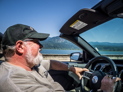 Tom Driving along Columbia River Gorge