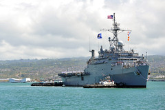 USS Denver (LPD 9) arrives at Joint Base Pearl Harbor-Hickam Aug. 7. (U.S. Navy/MC3 Johans Chavarro)