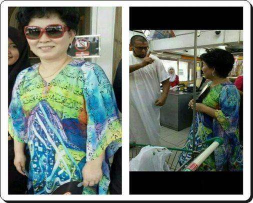 Wanita Tua Cina Memakai Baju Berkalimah Suci ~