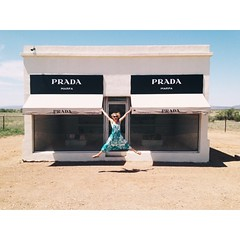 @beyonce and I now have matching photos. I'm sure she feels her life is more complete. (Have you heard about this art exhibit? Two artists built this structure right off the highway outside of the town of Marfa, in west Texas. It's a fake Prada store fill