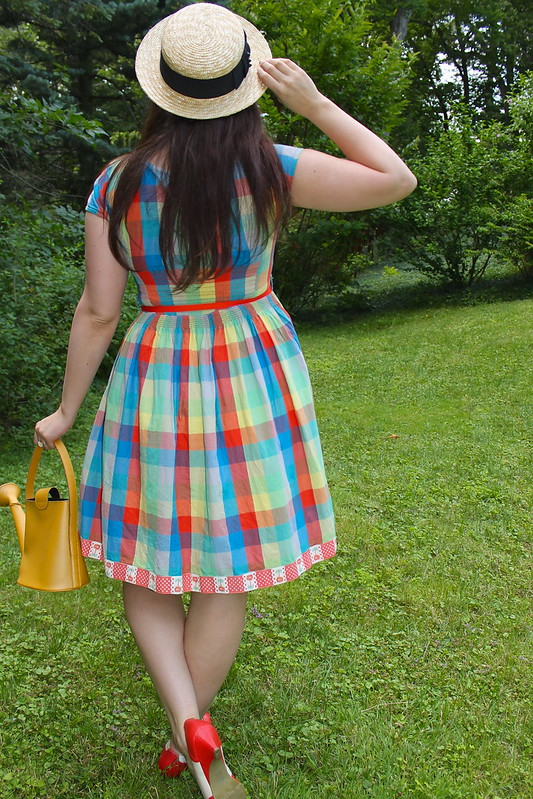 Back of plaid dress