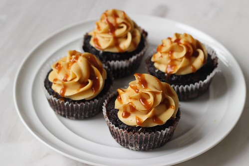 Miso caramel dark chocolate cupcakes