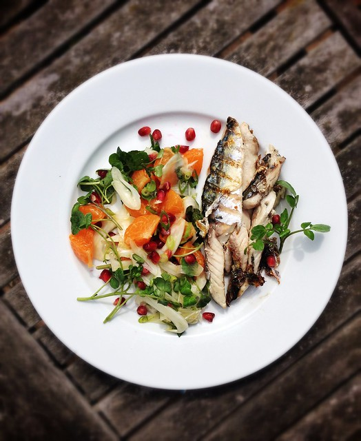 Mackerel with watercress, fennel and orange salad.