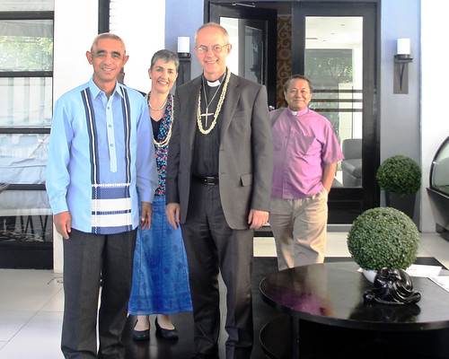 Abp Welby with Provincial Secretary, Atty. Floyd P. Lalwet, Caroline, and Bishop Dixie Taclobao of the Diocese of Central Philippines;