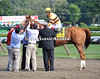Dan did it! 2012 and 2013 Horse of the Year Wise Dan receives a hero's welcome from his team after winning Saturday's GII Bernard Baruch H. at Saratoga.