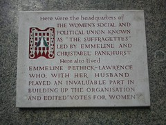 Photo of Emmeline Pankhurst, Christabel Pankhurst, Emmeline Pethick-Lawrence, and Frederick Pethick-Lawrence stone plaque