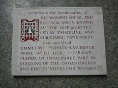 Photo of Frederick Pethick-Lawrence, Emmeline Pethick-Lawrence, Christabel Pankhurst, and Emmeline Pankhurst stone plaque