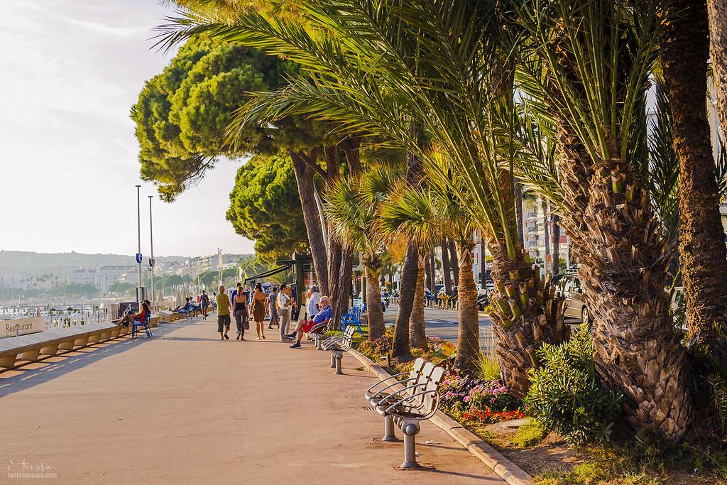 Walking along the Croisette promenade