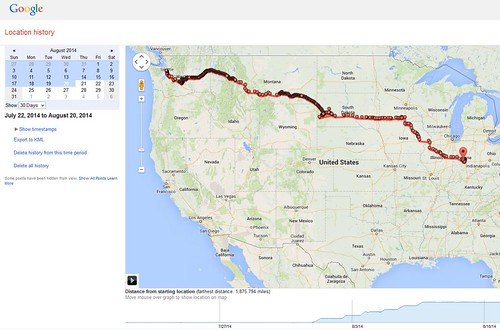 Trip from Seattle to Indy by car. July/Aug 2014.