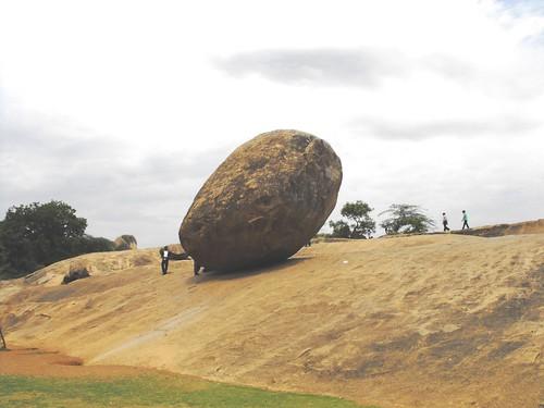 Krishna's Butter Ball – A Balancing Rock, Mahabalipuram, Tamil Nadu, June 2010