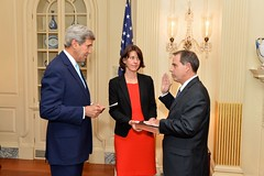 U.S. Secretary of State John Kerry swears in Stuart Jones as the U.S. Ambassador to Iraq at a ceremony at the U.S. Department of State in Washington, D.C., on September 17, 2014. [State Department photo/ Public Domain]