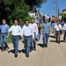 Gobernador Guillermo Padrés Elías junto a funcionarios durante recorrdio por Guillermo Padrés Elías