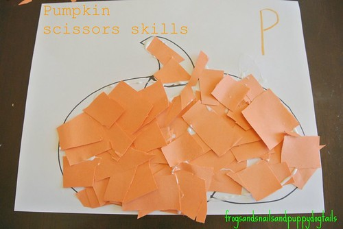 P Is for Pumpkin Scissors Skills (Photo from Frogs and Snails and Puppy Dog Tails)