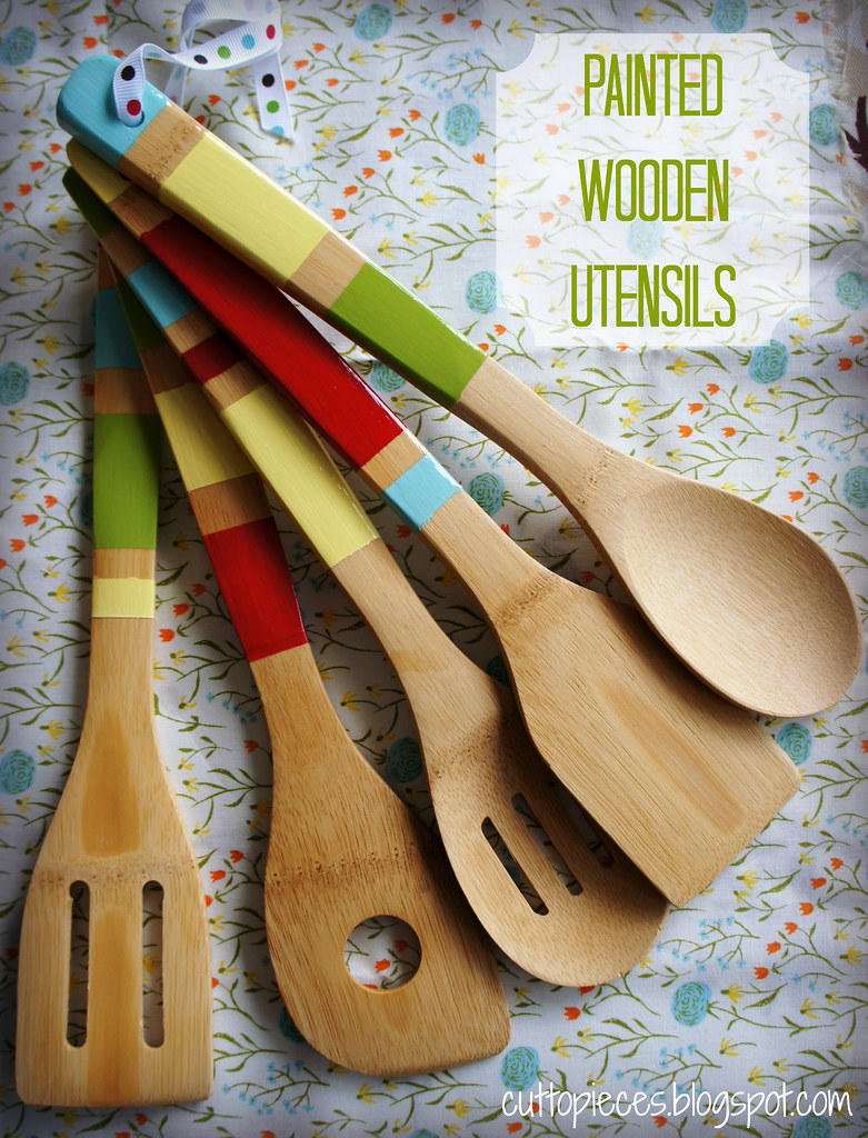 Painted Wooden Utensils | A step by step tutorial to make yo
