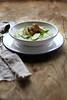 Zucchini cream with tofu in a sesame seeds crust