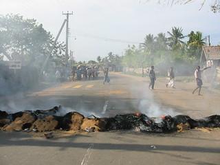 Tamil Tiger Road Block in Sri Lanka