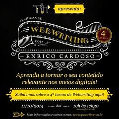 Você sabe qual é a melhor técnica para produzir e distribuir conteúdo na web?  Na semana que vem, dia 11/10, estarei em Santos pra compartilhar uma metodologia definitiva de produção de conteúdo. Inscreva-se em: http://bit.ly/webwriting-santos.  #content