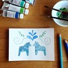 #latergram of a card for a mail exchange - I just love dala horses :) #dalarna #dalahäst #dalahorse #Sweden #scandinavia #blueexchange #blue #watercolor #watercolorpencils  #green #white #ink #postcard #postcrossing #mailart #snailmail #mailcrossing