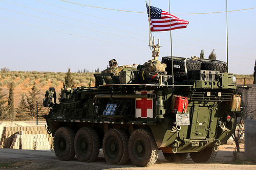 US troops spotted in armored convoy near Manbij, Syria