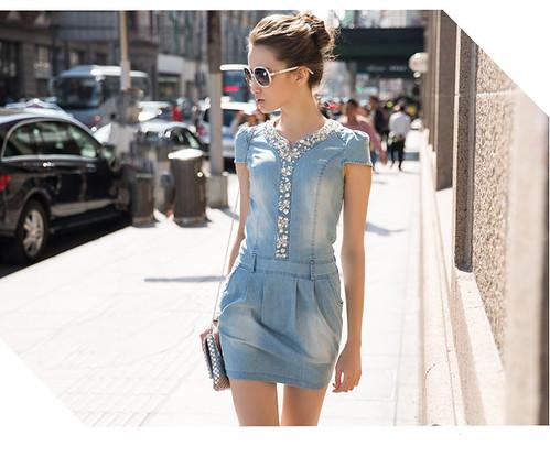 Summer New Women Dress V-neck Denim Dress Women Denim Skirt Diamonds Mounted Mini Sexy Slim Dress Casual-5@Patravol