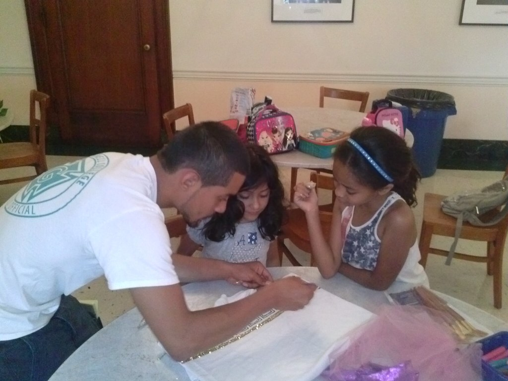 <p>Yorman, Ambassador Theater's Intern and Assistant to the Director enjoyed learning about the Greek culture as well and helped our campers to work on details too</p>