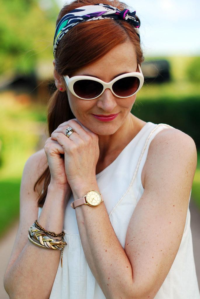 Summer whites - white sunglasses, heascarf