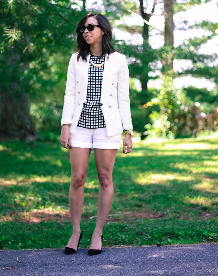va darling. dc blogger. virginia personal style blogger. white short suit. white blazer. white shorts. rebecca minkoff heels. windowpane top. 3
