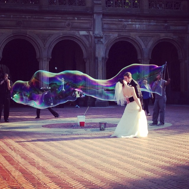 I am loving the wedding photos this couple is taking in Central Park with the huge bubble by the Bethesda Fountain. Also saw another couple get engaged! Such a romantic spot!