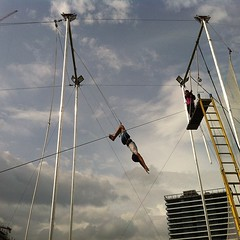 I'm in Manila, VIP preview of flying trapeze Philippines.