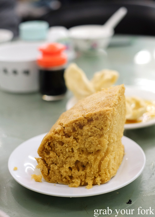 Mah lai goh steamed sponge cakes at Lin Heung Tea House in Central, Hong Kong