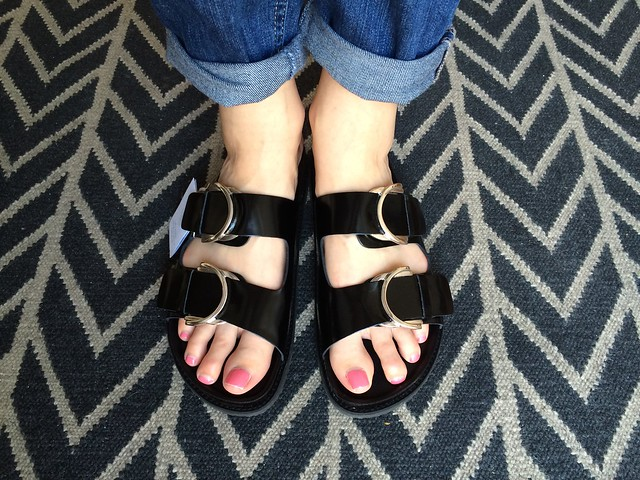 zara black patent leather two strap sandal