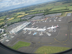 Newcastle Airport from the Air Emirates 777 at the stand.
