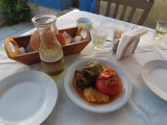 gemista, wine and bread at Tonia's Courtyard…