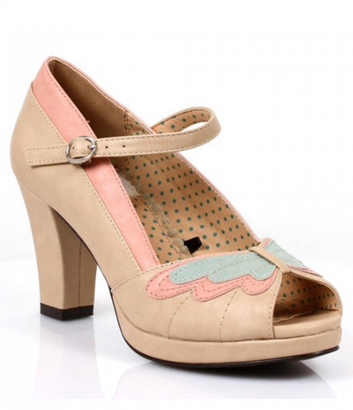Unique Vintage Nude Vintage Open Toe Butterfly Mary Jane Pumps