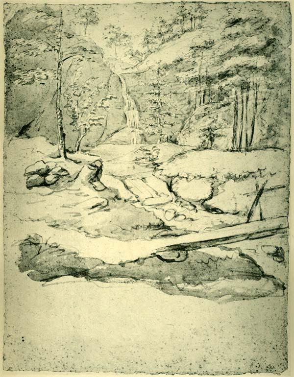 Goethe, Waldlandschaft mit Wasserfall, 17. Juni 1775
