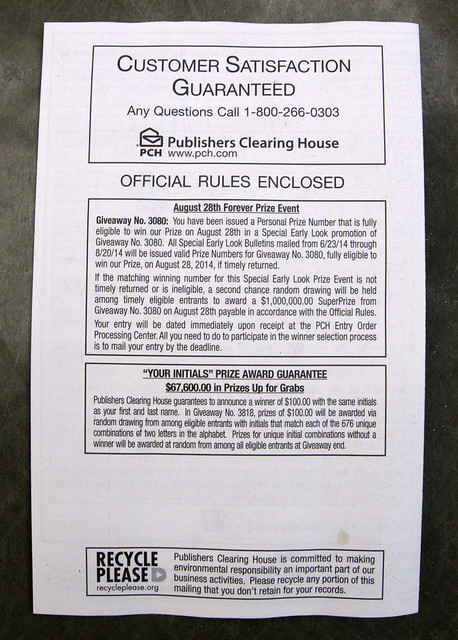 Publishers Clearing House rules back