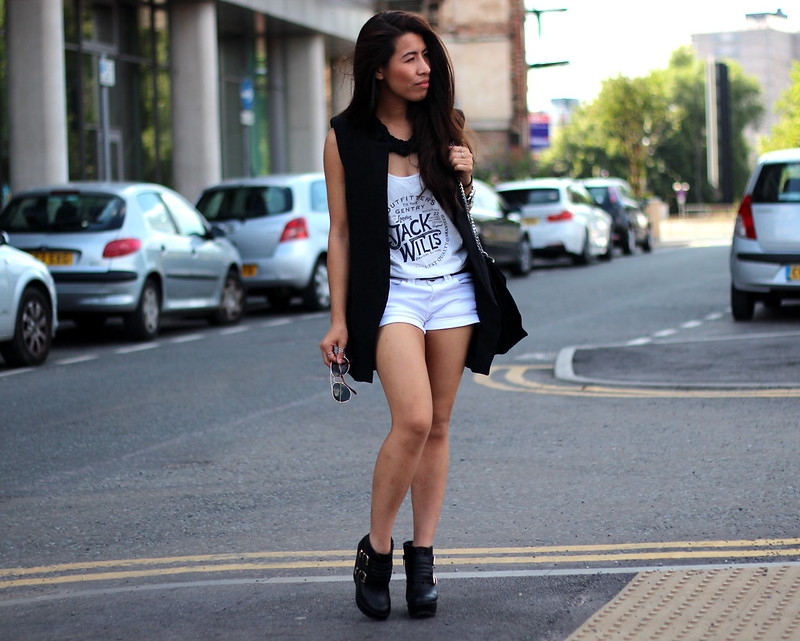Article 21 Uk Fashion & Style Blog, Jack Wills White Tee, White Jack Wills Tank, Black Longline Waistcoat, White Denim Shorts, Zara Black Suede Bag, New Look Chunky Black Ankle Boots, uk fashion blogger, top uk blogs, best uk fashion blogs, british fashion blogs, uk chinese blogger, manchester fashion blogger