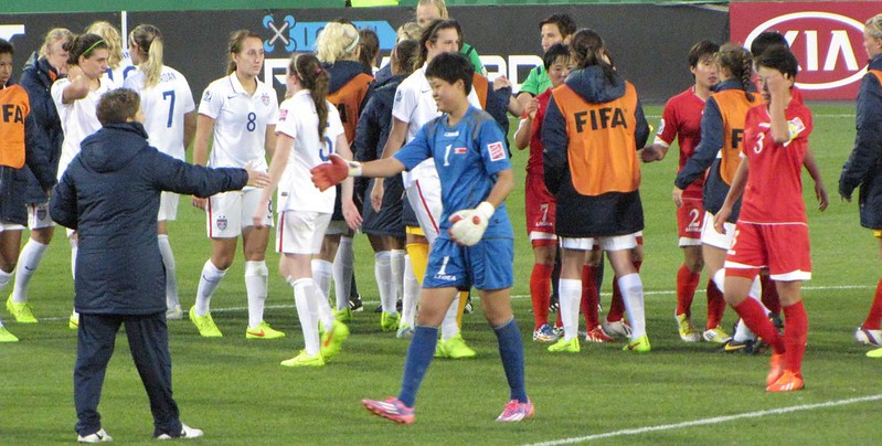 North Korea vs USA, U-20 Women's World Cup - Kim Chol-Ok shakes US coach's hand