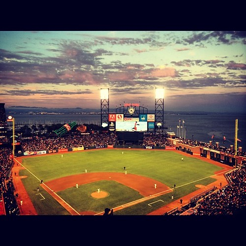 It seems like all I do is sigh at the beauty that is this city. Look at this #sunset. SIGH. #sfgiants #mlb #baseball #attpark #sanfrancisco #kategoestocalifornia