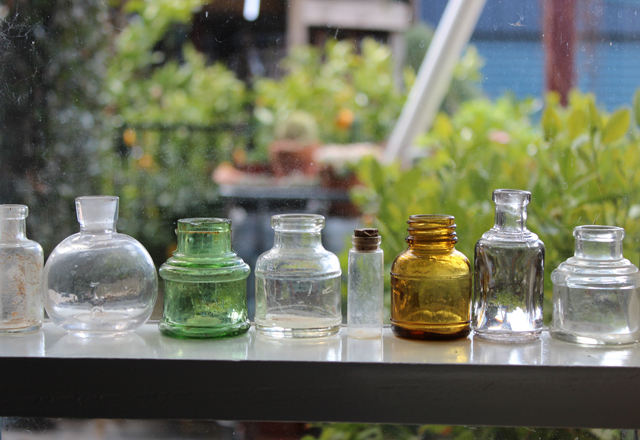 Bottle collection in my studio