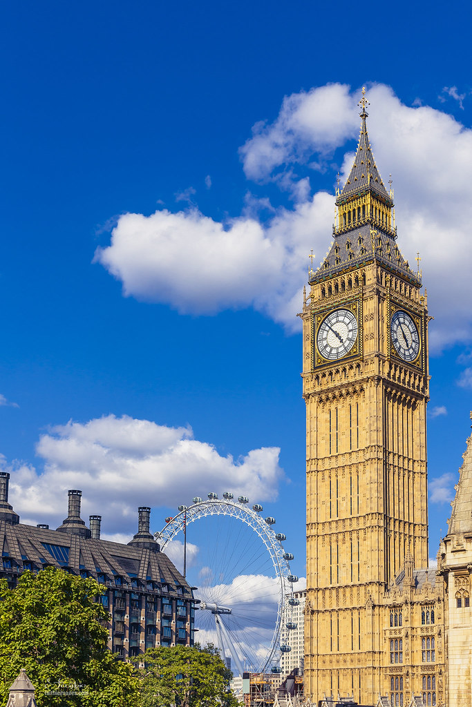 Big Ben and London Eye with a blue sky