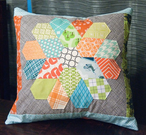 English Paper Pieced Flower Pillow